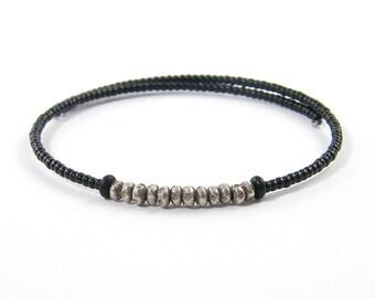 Black Silver Bracelet, Black Bangle Bracelet, Minimalist Beaded Jewelry, Black Unisex Bangle, Mens Womens |BC2-25