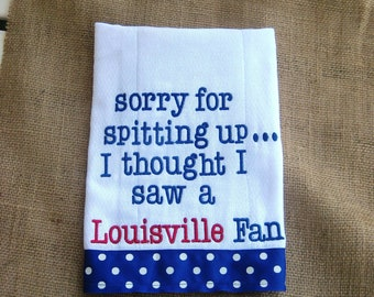 Embroidered burp cloth - Kentucky -Memphis-Louisville-Tennessee-you can name your team