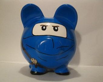 Ninja piggy bank, Personalized, Handpainted, Large,  Blue Ninja Piggy Bank - MADE TO ORDER
