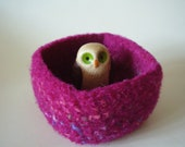 felted wool bowl container magenta mix square