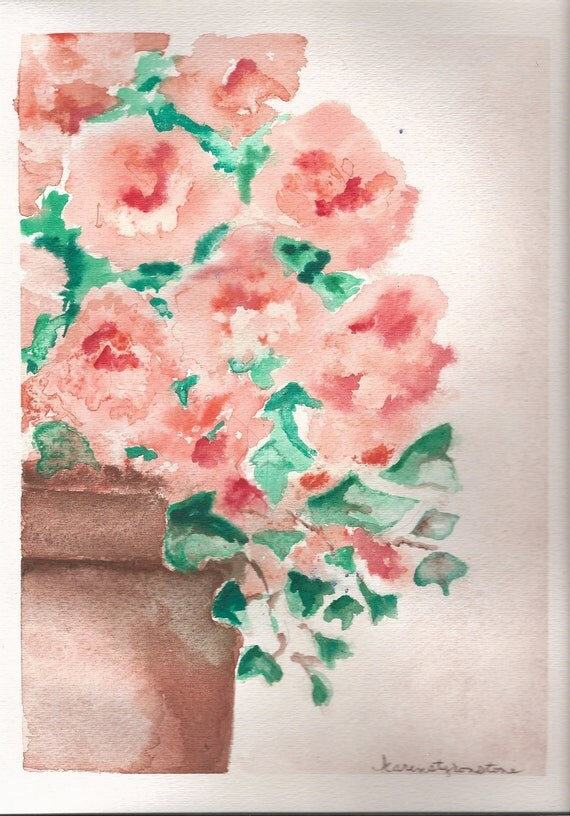 Flower, plant, potted plant, Original Watercolor...Where Have All the Flowers Gone