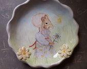 Victorian Mouse Walking in a Field Plate - handpainted docorative plate