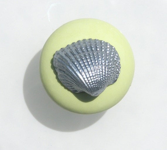 Cabinet Knobs in Chartreuse green with silver shells for Coastal Home Decor needs