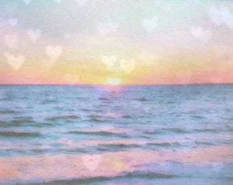 Ocean Sunset Pastel Large Photography, Pastel Ocean Canvas Wall Art, Pink Ocean, Pink Sunset, Pink Canvas, Nursery Decor, Nursery Wall Art