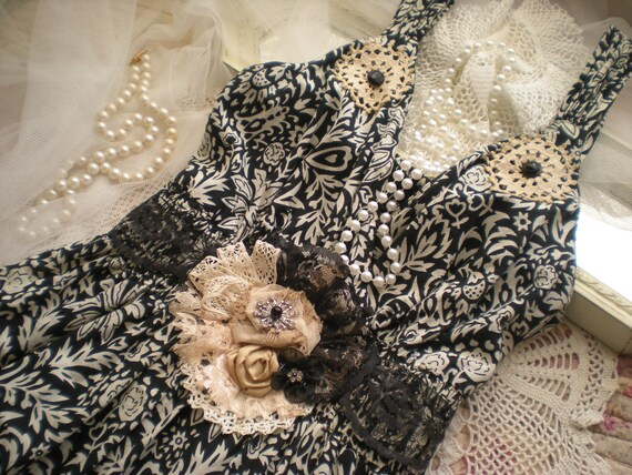 Special Reserve For Alyne... Shabby Vintage Chic Black Tea Stained ReStyled Maxi Dress With Sash OOAK Free Shipping