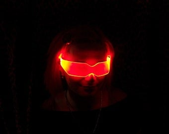 The original Illuminated Cyber goth visor V2 Neon Orange like cyberdog