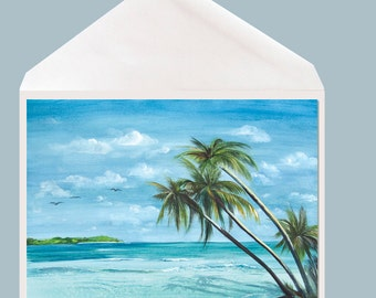 Watercolor tropical art Greeting Card by Dotty Reiman - option to add your personal message inside of card