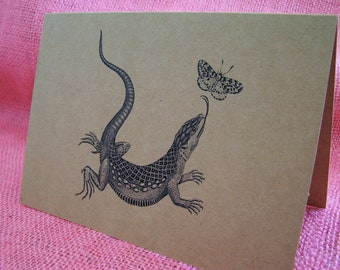 """Lizard and Butterfly Set of ANY 3 Greeting Note Cards Invitations printed on Recycled Brown Kraft Cardstock with matching envelope 5 x 7"""""""