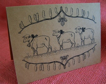 """Counting Sheep Baby Shower Birthday SET OF ANY 3 Greeting Note Cards Brown Recycled Kraft Cardstock with matching envelope 5 x 7"""""""