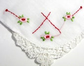 Vintage Handkerchief, Embroidered Hankie, Handkerchiefs, Lace, Red, Pink, Green, Floral, Ladies, Womens Hankies, Mid Century
