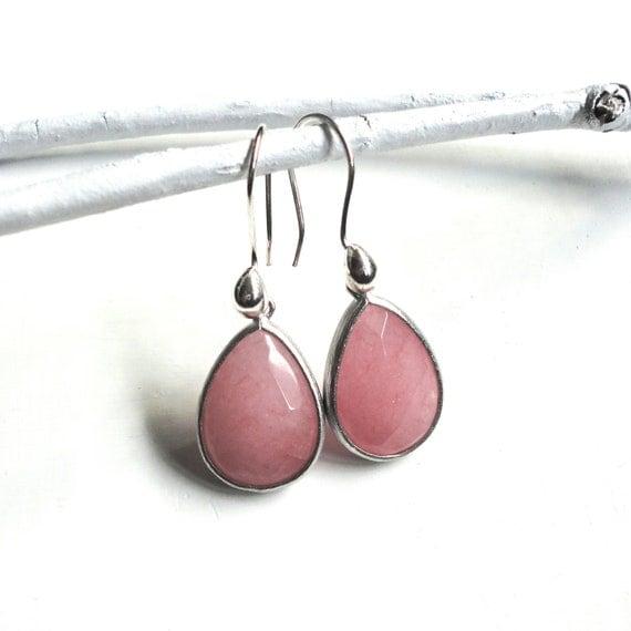 Coral Pink Teardrop Earrings - Large Silver Framed Stones