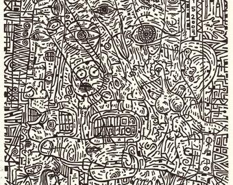 """I'm Not Asleep. Linocut relief print. 9"""" x 12"""""""