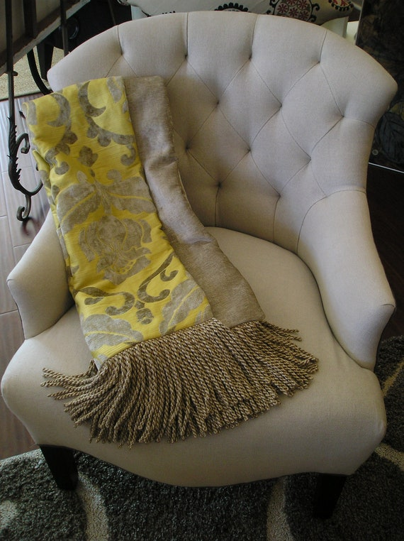 Luxurious Designer Throw, Yellow and Gray, Chenille Medallion,  Decorator Throw, Grey Chenille Tapestry, Bespoke Throw, Custom Blanket