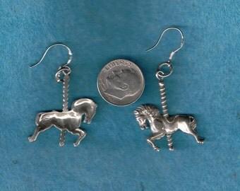 Vintage Sterling Silver Carosel Horse Earrings