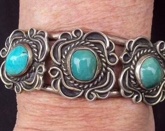 Vintage Handmade Turquoise Cuff Bracelet