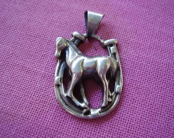 Large Vintage Sterling Silver Full Horse in Horse Shoe Pendant