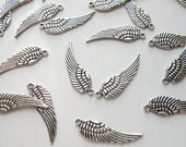 10 Angel Wing charms antique silver steampunk 30x10mm DB00062