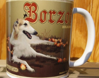 Borzoi Crate Label Coffee Mug