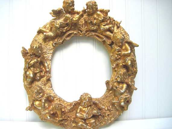 Rococo frame, ornate frame,  plaque ornate putti cherubs composite French