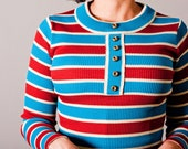 striped ribbed stretch knit top - long sleeve // vintage 60's 70's // turquoise & red-brown horizontal stripes - brass buttons // small