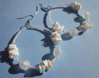 Polar Ice Caps Beaded Hoop Earrings