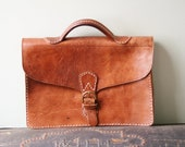 Vintage Moroccan Leather Briefcase / Portfolio / Satchel