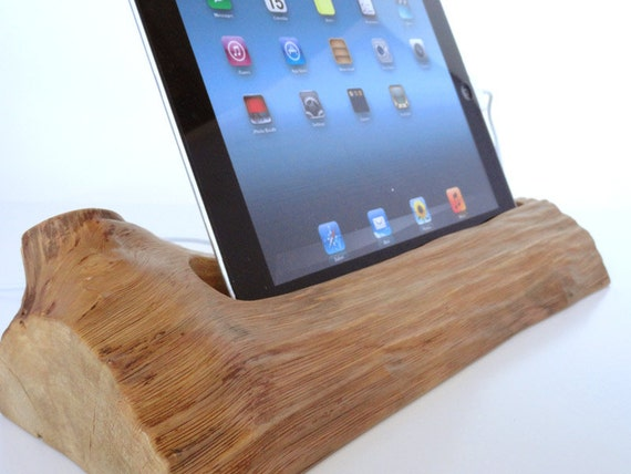 iPad 3 dock  and iPad 3 stand - wooden docking station - sync, charge, can serve as holder / stand... unique gift
