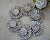Paper Rosettes Flowers in Glossy Silver with White Lacy Designs - 6 pcs