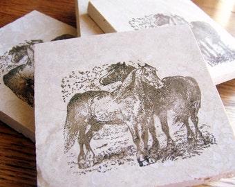 coasters, rustic, natural stone, tumbled tile, horses, set of 4 -