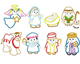 nativity scene wisemen baby jesus mary joseph camel and more set of 8 embroidery applique designs instant download