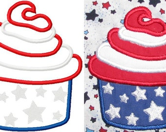 4th of july cupcake embroidery design instant download