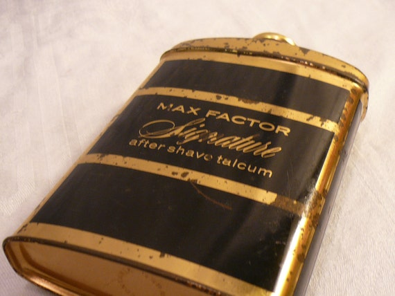 Tin Vintage Max Factor Signature After Shave Talcum Empty Container