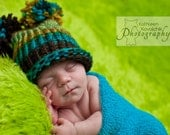 Baby Boy Hat Newborn -Knit green, teal and brown with Pom Poms