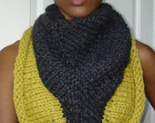 Two Color Chunky Triangle Scarf with Hex Nuts