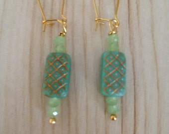 Mint Green and Gold Earrings