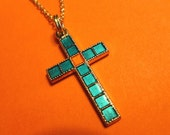 Vintage Lightweight Cloisonne Turquoise & Coral Goldtone Cross Pendant with Neckchain