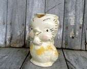 Vintage Chicken Pitcher Vase Creamer Jug Chick Pottery Gold Yellow Retro Kitchen Decor Pottery Kitsch - TheSquirrelCottage