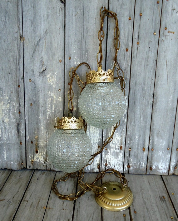Swag Pendant Light Lamps Pair Lights Lighting Glass Vintage
