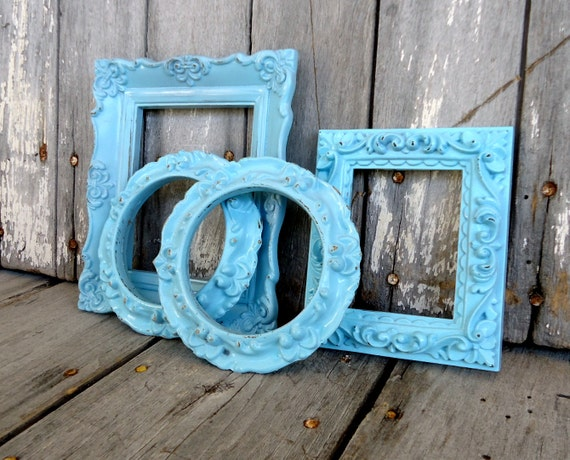 vintage ornate frames small mini upcycled plastic set aqua blue turquoise baroque anthropologie style
