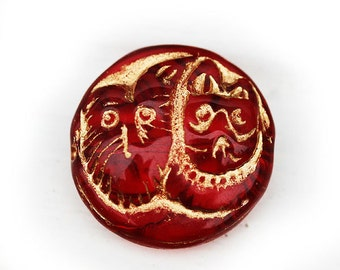 Red czech Dog Cat glass beads, Golden wash, doggy face, kitty face, red and gold large round pendant bead - 23mm - 2Pc - 1891