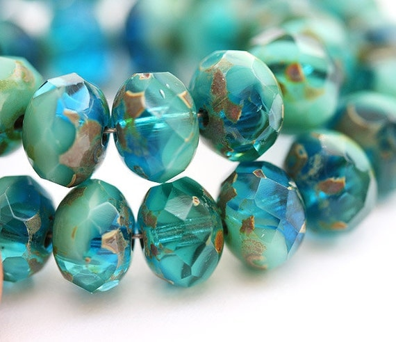 Czech glass bead Teal blue Picasso, mixed ocean color, donut, rondelle - 6x8mm - 12Pc - 0407