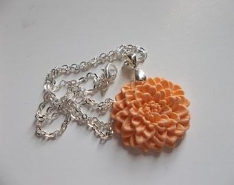 32mm Orange Sculpey Chrysanthemum Necklace