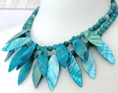 SALE Blue Statement Necklace: Turquoise Shell and Quartzite Bead Chunky Bib Jewelry, Summer Fashion