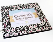 Baby Shower Guest Book - Pink and Black Damask