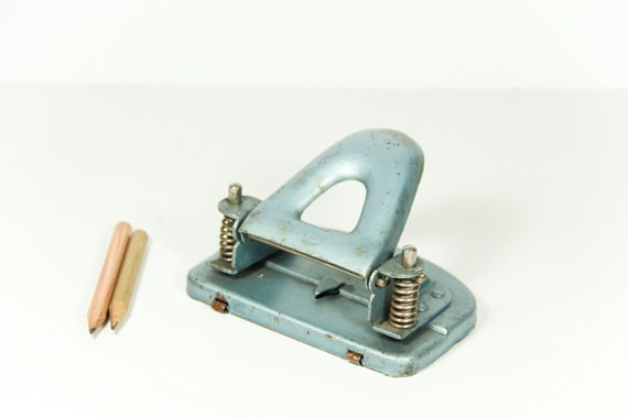 Vintage Industrial Hole Punch Teal Aqua 1960s Germany