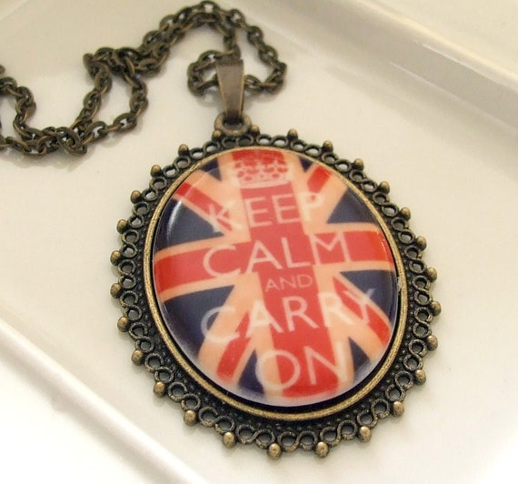 Keep Calm and Carry On Porcelain Necklace .. porcelain necklace, Keep Calm and Carry On, British, Union Jack  necklace, British flag