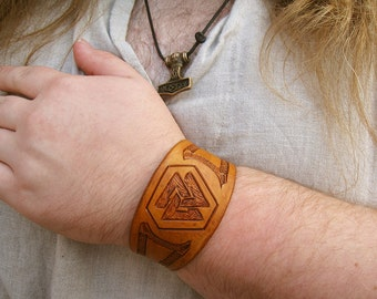 Custom Viking Valknut leather bracelet with Celtic knot border (made to order)