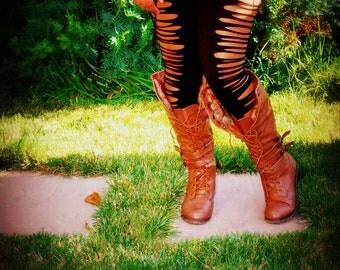 Plus Size Long Black Leggings Cut Up the Sides