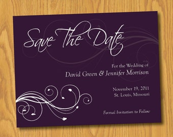 Floral Swirl Save the Date Card