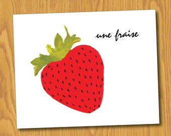 "Strawberry Print (8x10) - ""Une Fraise"""